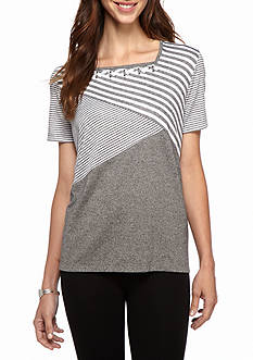 Alfred Dunner Petite Arcadia Spliced Stripe Top