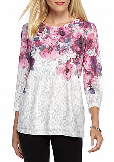 Alfred Dunner Veneto Valley Watercolor Floral Yoke Top