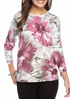 Alfred Dunner Veneto Valley Floral Shimmer Sweater
