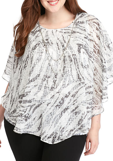 Alfred Dunner Plus Size Veneto Valley Butterfly Top