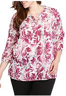 Alfred Dunner Plus Size Veneto Valley Scroll Tunic