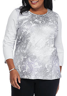 Alfred Dunner Plus Size Veneto Valley Paisley Shimmer Top