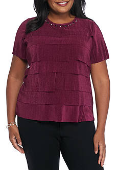 Alfred Dunner Plus Size Veneto Valley Tiered Accordian Top