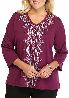Alfred Dunner Plus Size Veneto Valley Center Scroll Knit Top