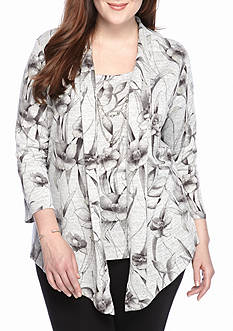 Alfred Dunner Plus Size Floral 2fer Top