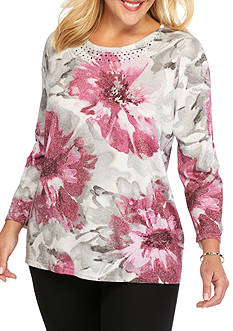 Alfred Dunner Plus Size Veneto Valley Floral Shimmer Sweater