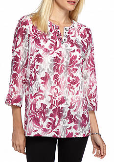 Alfred Dunner Petite Veneto Valley Scroll Knit Tunic