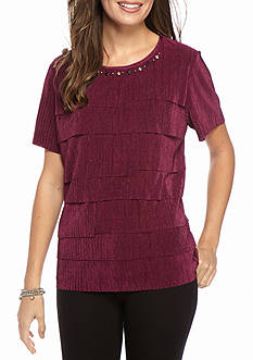 Alfred Dunner Petite Veneto Valley Tiered Accordian Top