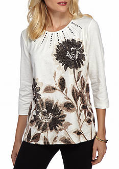 Alfred Dunner Madison Park Placed Floral Print Top