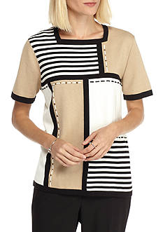 Alfred Dunner Madison Park Colorblock Stripe Knit Top