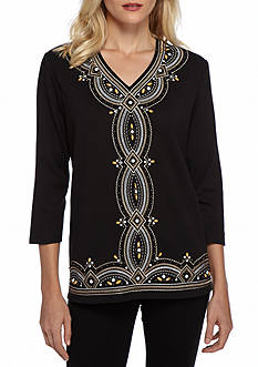 Alfred Dunner Petite Madison Park Embroidered Knit Top