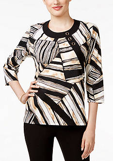 Alfred Dunner Petite Madison Park Stripe Block Knit