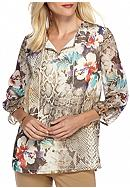Alfred Dunner Santa Fe Placed Floral Print Tunic