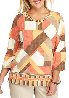 Alfred Dunner Plus Size Santa Fe Geo Patch Top