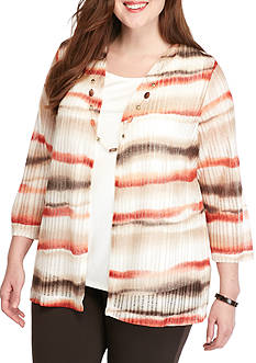 Alfred Dunner Plus Size Santa Fe Watercolor 2Fer
