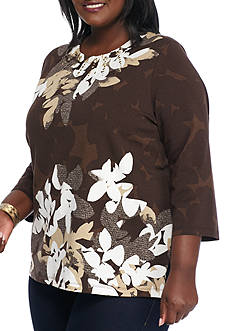 Alfred Dunner Plus Size Santa Fe Floral Knit Top