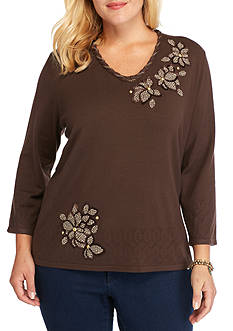 Alfred Dunner Plus Size Santa Fe Floral Check Print Sweater