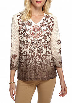 Alfred Dunner Petite Santa Fe Ombre Scroll Knit Top