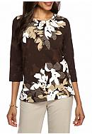 Alfred Dunner Petite Santa Fe Floral Knit Top