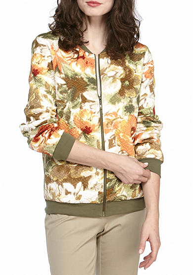Alfred Dunner Cactus Floral Bomber