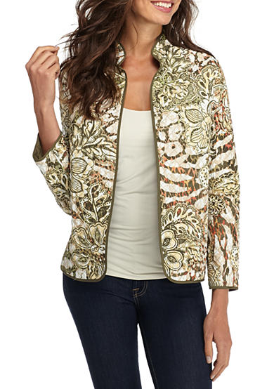 Alfred Dunner Cactus Floral Skin Quilted Jacket