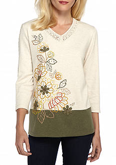 Alfred Dunner Cactus Ranch Floral Yoke Knit Top