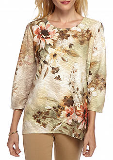 Alfred Dunner Cactus Ranch Textured Floral Knit Top