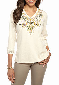 Alfred Dunner Cactus Ranch Embroidered Yoke Knit Top