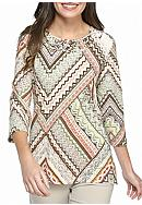 Alfred Dunner Cactus Chevron Patch Knit