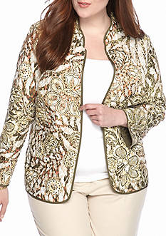Alfred Dunner Cactus Ranch Floral Skin Quilted Jacket