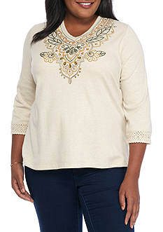 Alfred Dunner Plus Size Cactus Ranch Embroidered Yoke Knit Top
