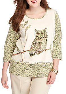 Alfred Dunner Plus Size Cactus Ranch Owl Print Top