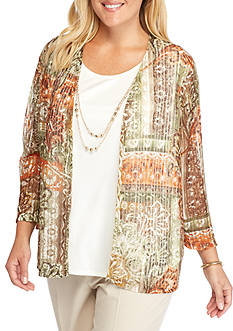 Alfred Dunner Plus Size Cactus Ranch Patchwork 2Fer