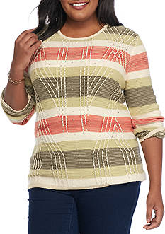 Alfred Dunner Plus Size Cactus Ranch Textured Stripe Sweater