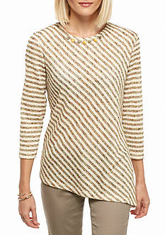 Alfred Dunner Petite Crescent Ranch Diagonal Stripe Knit Top