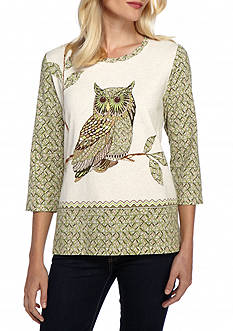 Alfred Dunner Petite Cactus Ranch Owl Print Top