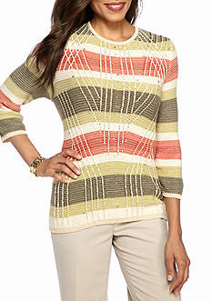 Alfred Dunner Petite Cactus Ranch Textured Stripe Sweater