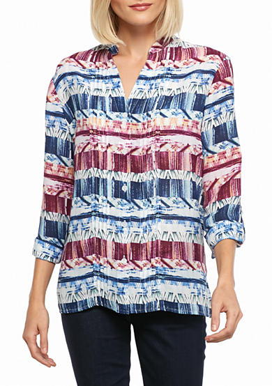 Alfred Dunner Sierra Madre Biadere Woven Top