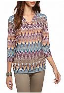 Alfred Dunner Sierra Madre Zigzag Knit Top