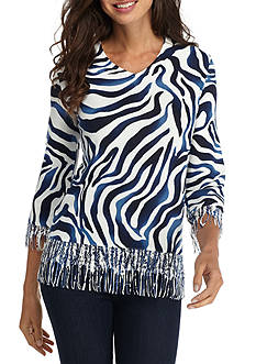 Alfred Dunner Sierra Madre Animal with Fringe Sweater