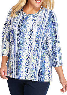 Alfred Dunner Plus Size Sierra Madre Vertical Animal Print Top