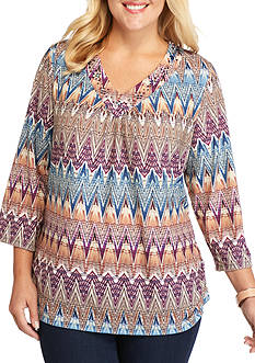 Alfred Dunner Plus Size Sierra Madre Zig Zag Knit Top