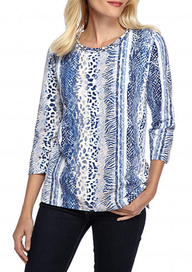 Alfred Dunner Petite Sierra Madre Vertical Animal Print Top