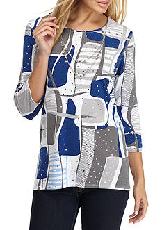 Alfred Dunner City Crescent Colorblock Knit Top