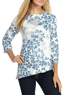 Alfred Dunner Crescent City Asymmetrical Leaves Knit Top
