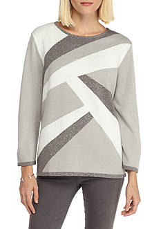 Alfred Dunner Crescent City Abstract Colorblock Sweater