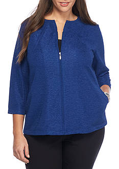 Alfred Dunner Plus Size Crescent City Knit Texture Jacket