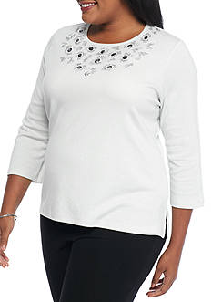 Alfred Dunner Plus Size Crescent City Shimmer Beaded Top