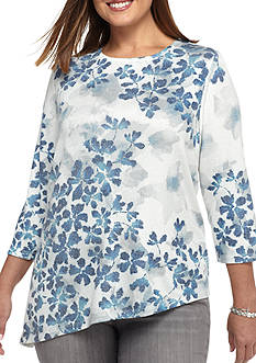 Alfred Dunner Plus Size Crescent City Asymmetrical Leaves Knit Top