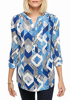 Alfred Dunner Petite Crescent City Python Print Tunic